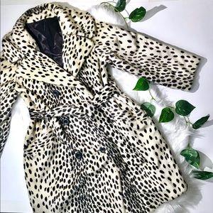 Vintage Fur Leopard Cheetah Print Winter Coat